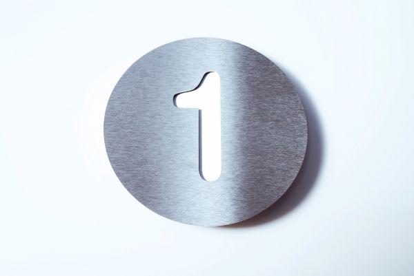 Hausnummer Edelstahl Farbe Weiß 1