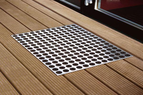 Fußmatte aus Edelstahl in Schwarz