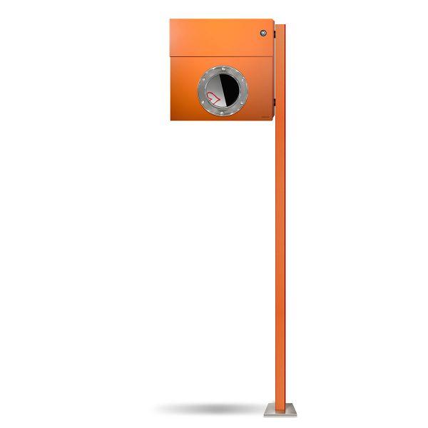 Standbriefkasten Letterman 1K orange inkl. LED Licht und Klingel blau