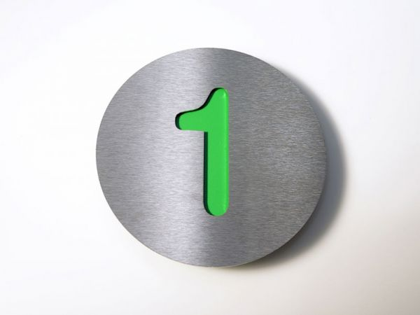 Hausnummer Edelstahl in Farbe Grün 1