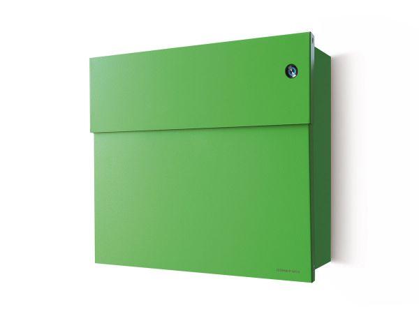 Letterman 4 Briefkasten Hellgrün mit Klingel Blau