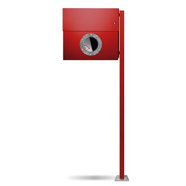 Standbriefkasten Letterman XXL K rot mit Klingel orange