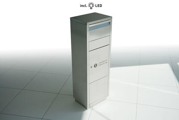 Paktbriefkasten Edelstahl inkl. LED-Innenbeleuchung