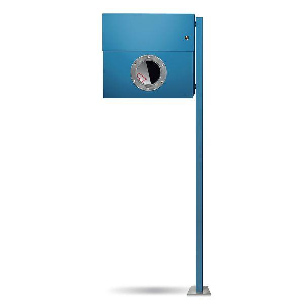 Standbriefkasten Letterman XXL K blau mit Klingel orange