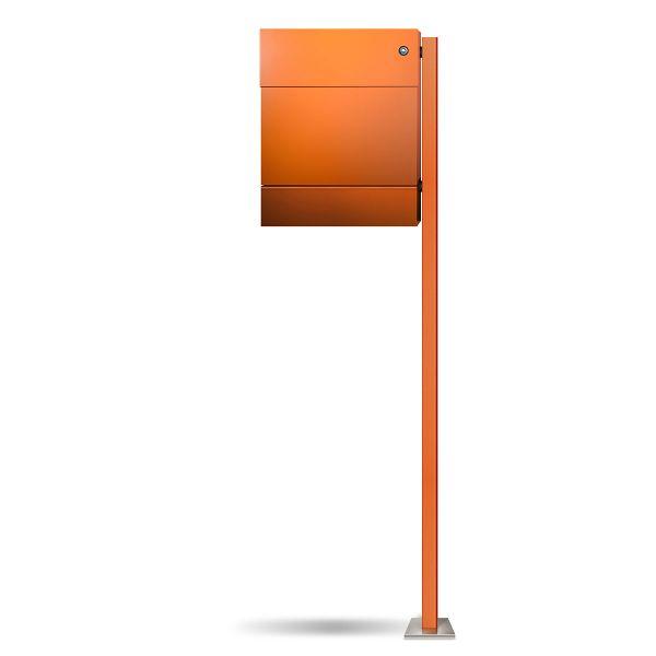 Standbriefkasten Letterman 5K orange mit Klingel blau
