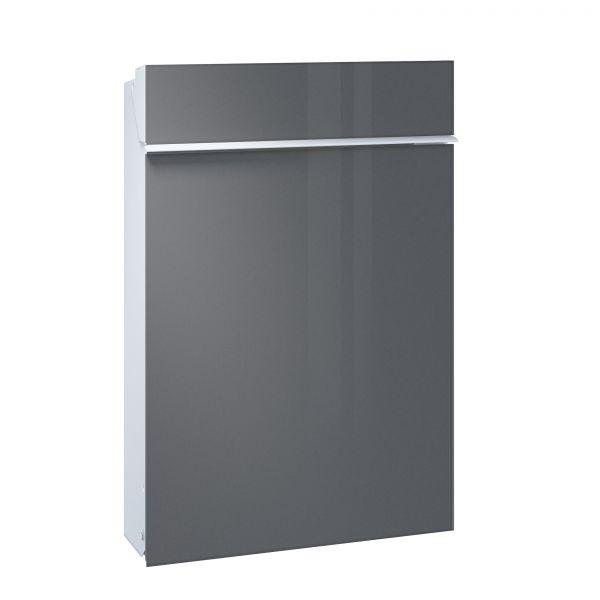Briefkasten Flat - Front Glas / Korpus weiß