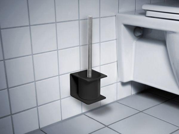 Selbstklebender WC Bürstenhalter von Radius Design in Schwarz
