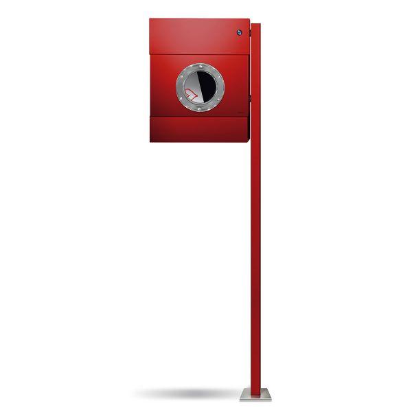 Standbriefkasten Letterman 2K rot mit Klingel blau