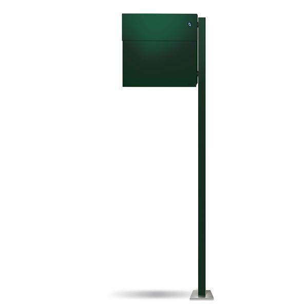 Standbriefkasten Letterman 4K dunkelgrün inkl. LED Licht und Klingel blau