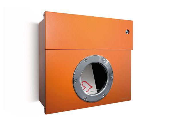 Letterman 1 Briefkasten Orange mit Bullauge und Klingel Blau